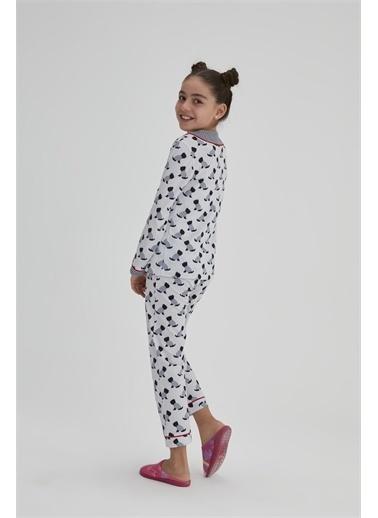 Dagi Kiz Çocuk Pamuk Köpek Baskili Gömlek Pijama Takimi Lacivert